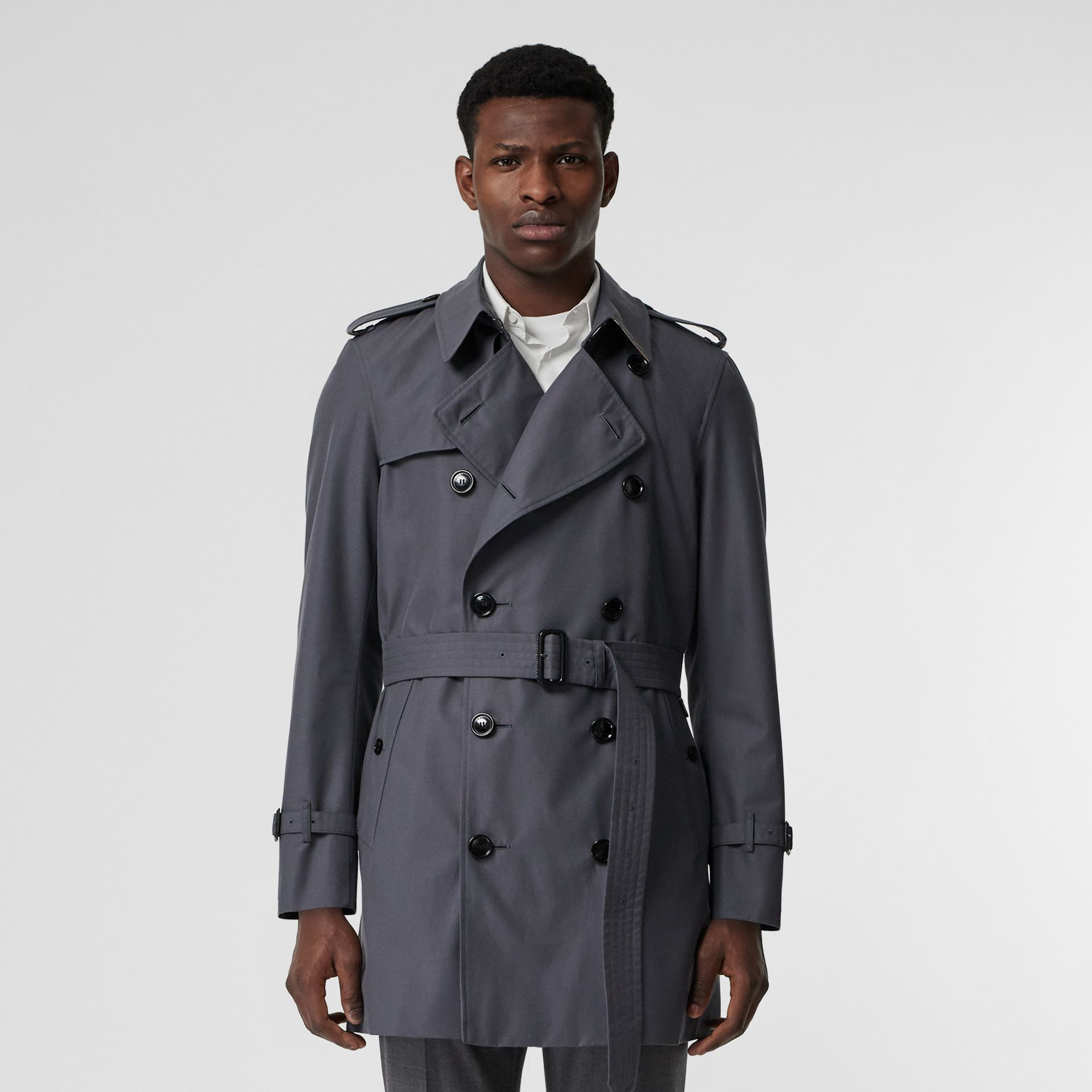 Short Chelsea Fit Trench Coat in Mid Grey - Men | Burberry Australia - gallery image 7