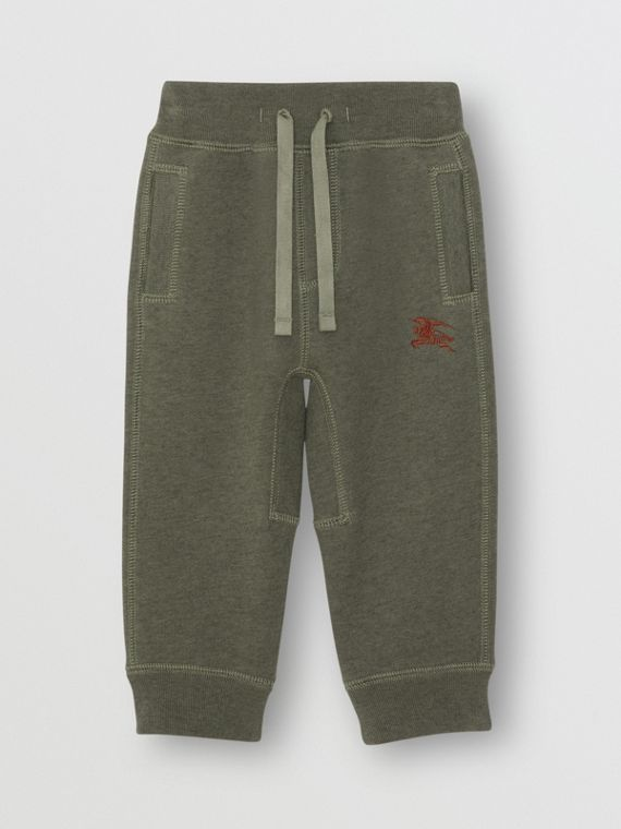 Embroidered Logo Cotton Trackpants in Olive Melange