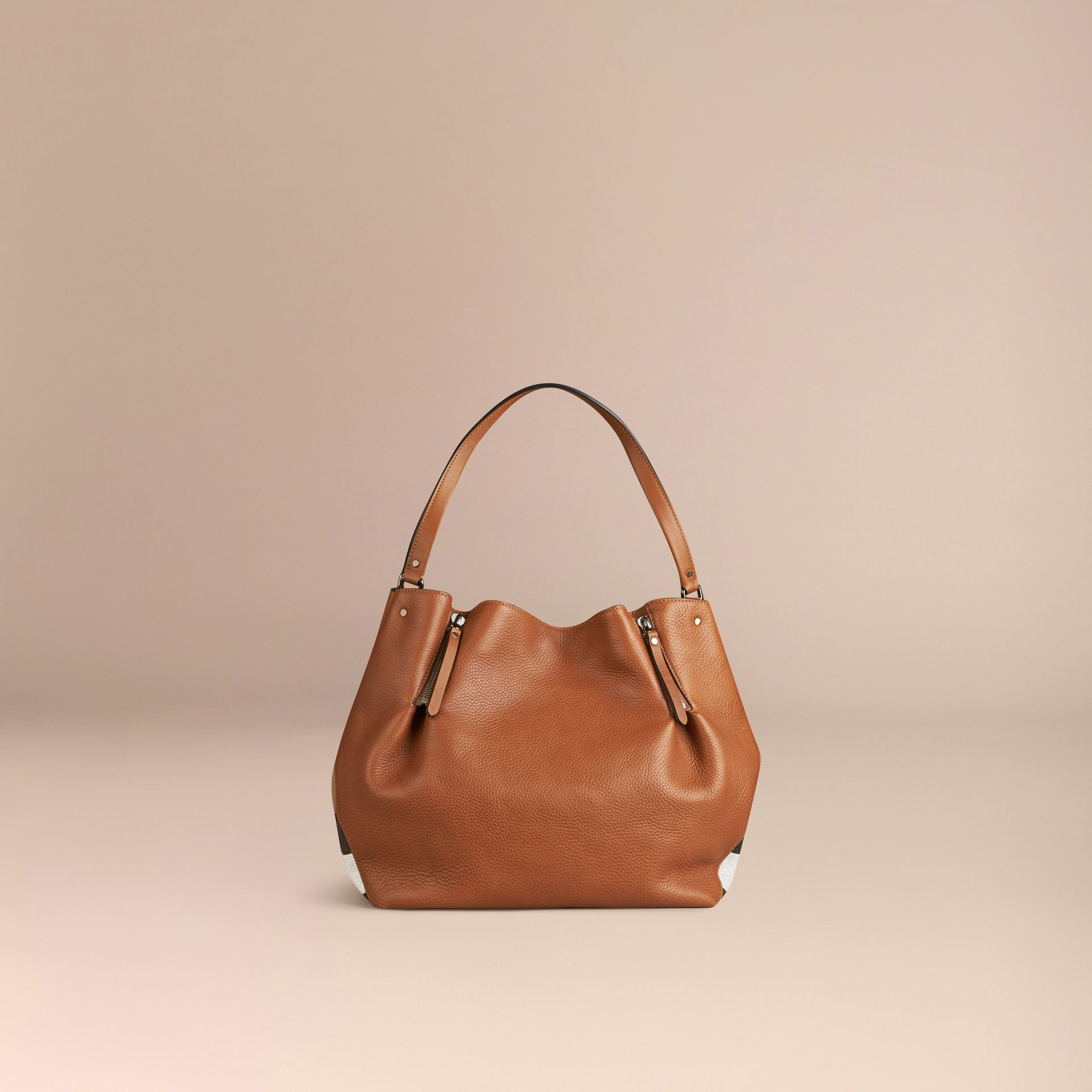 Saddle brown Medium Check Detail Leather Tote Bag Saddle Brown - gallery image 3