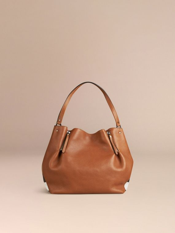 Saddle brown Medium Check Detail Leather Tote Bag Saddle Brown - cell image 3