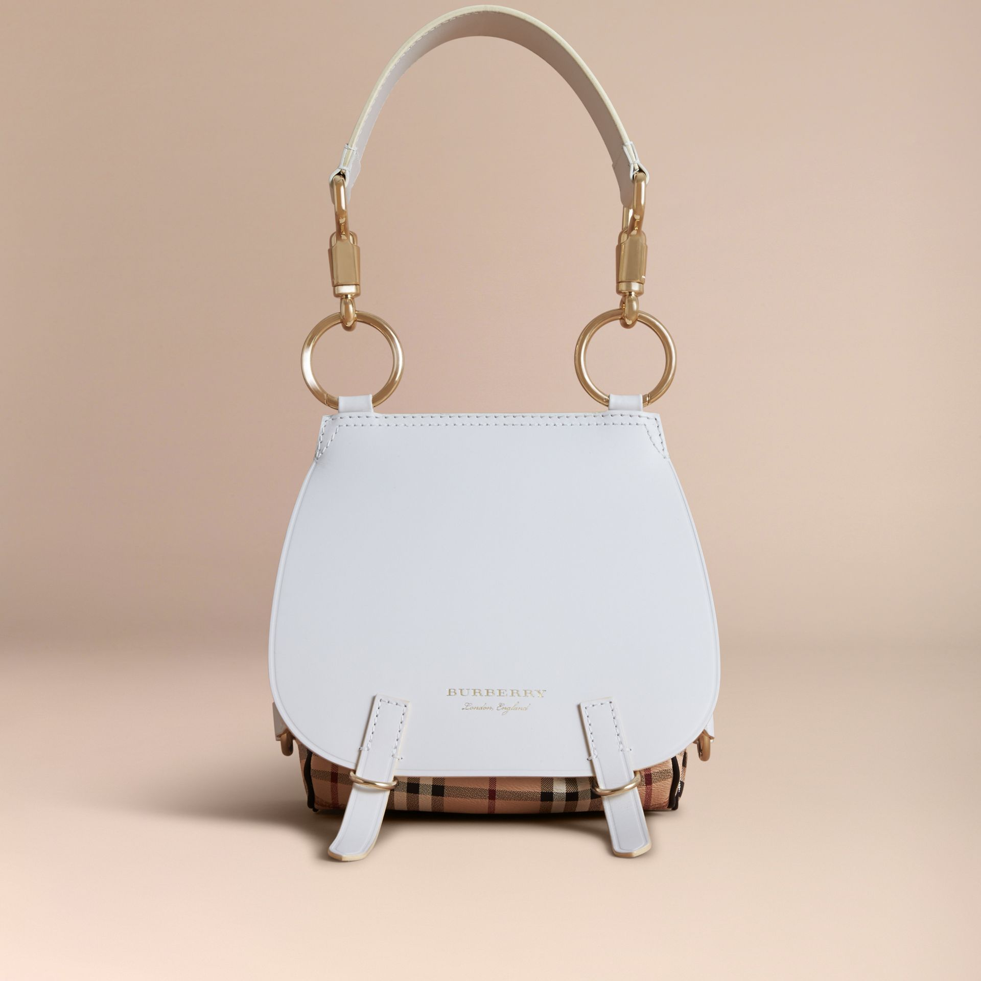 Sac The Bridle en cuir et tissu Haymarket check (Naturel) - Femme | Burberry - photo de la galerie 7