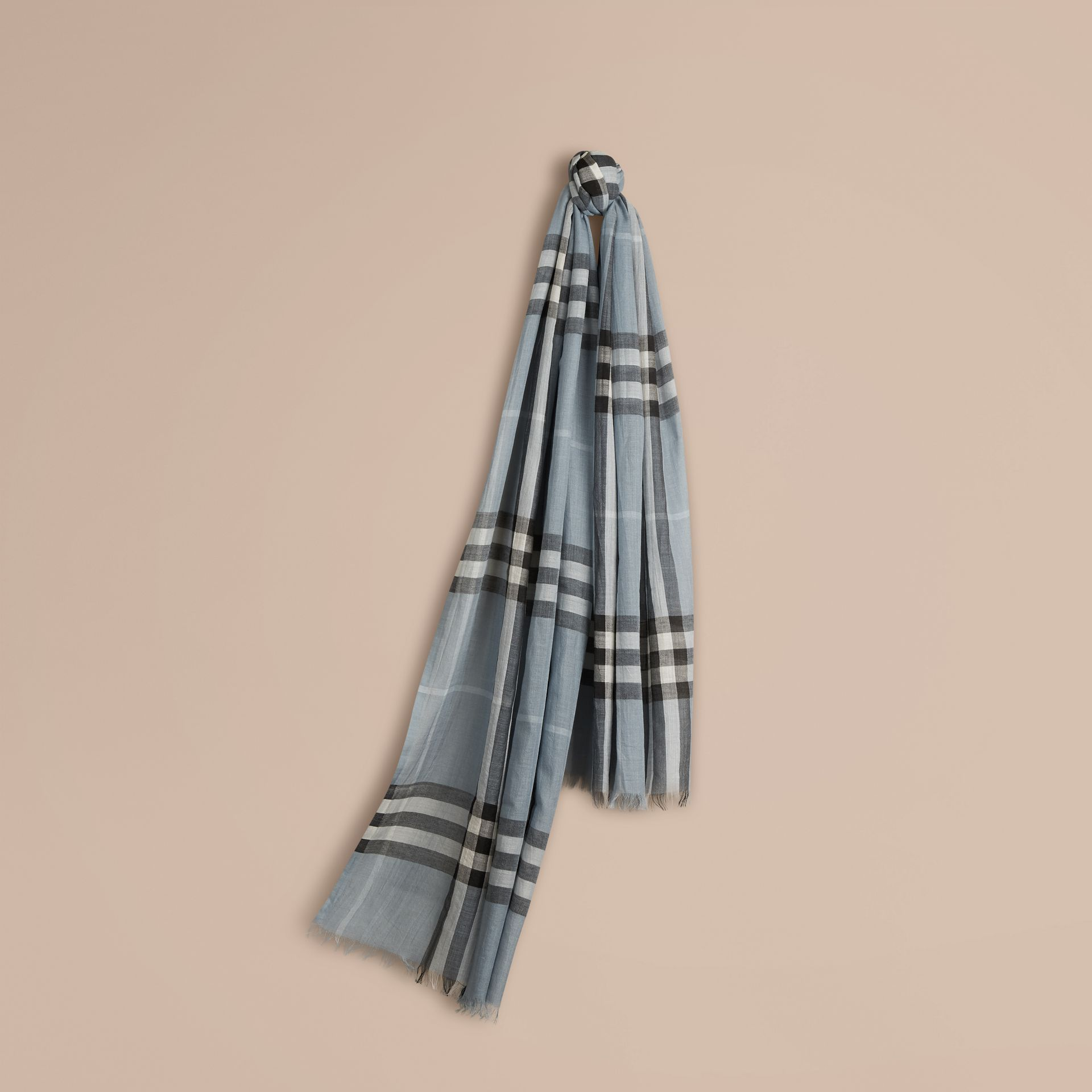 Lightweight Check Wool and Silk Scarf Dusty Blue - gallery image 1