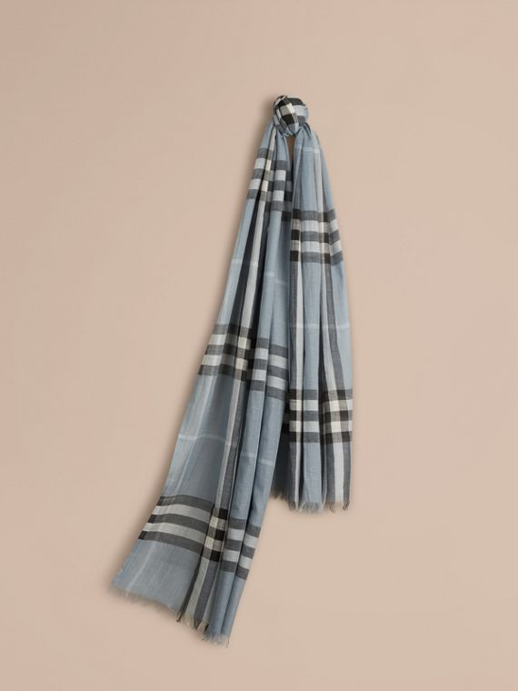 Lightweight Check Wool and Silk Scarf Dusty Blue