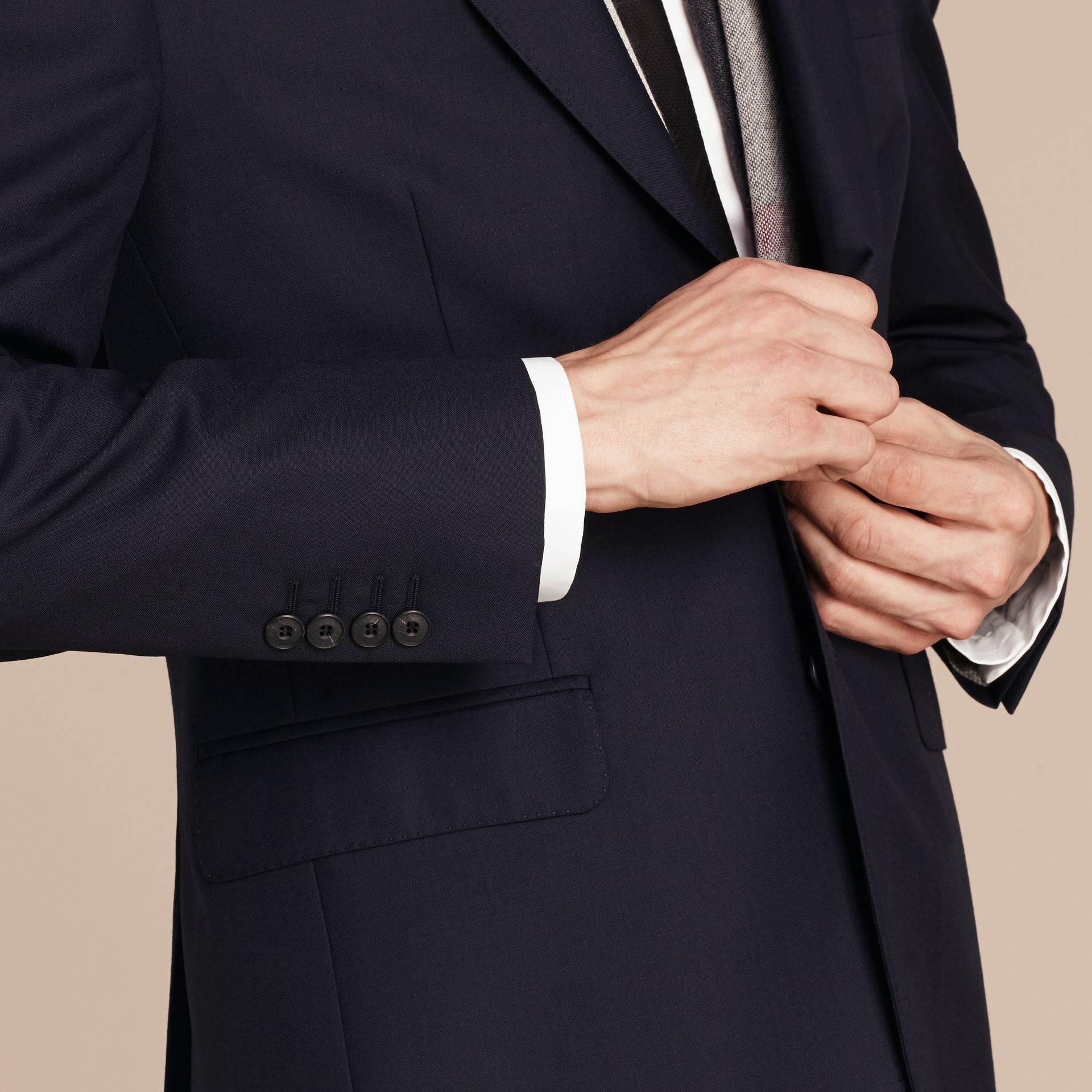 Classic Fit Wool Part-canvas Suit Navy - gallery image 6