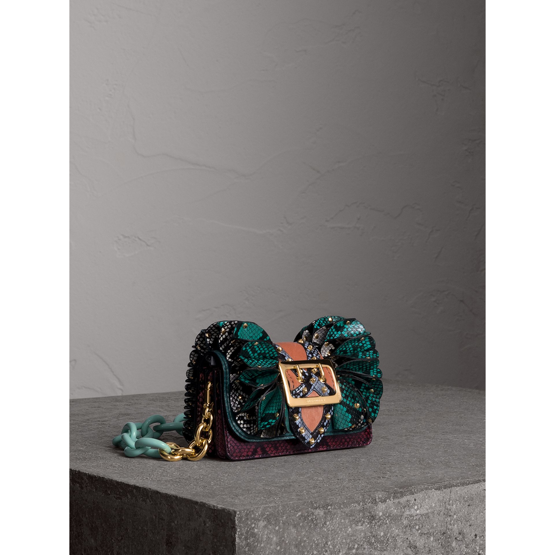 The Ruffle Buckle Bag in Snakeskin and Velvet in Teal - Women | Burberry - gallery image 6