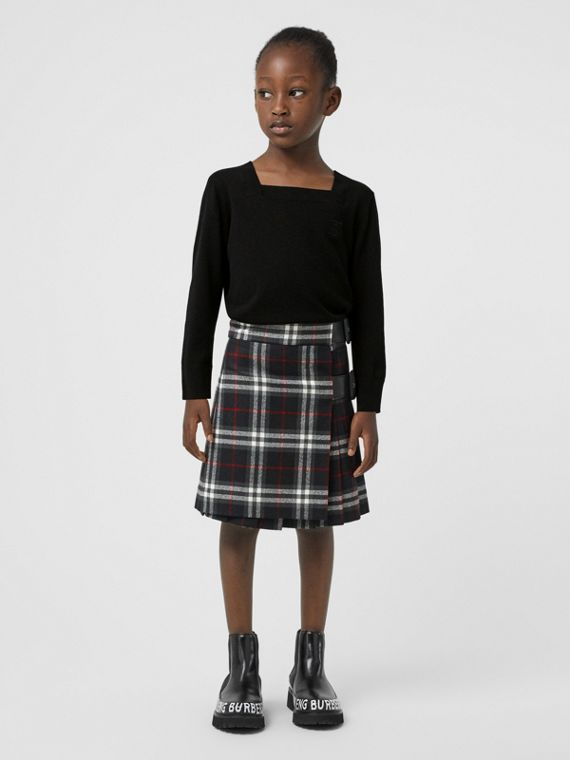 Lambskin Detail Vintage Check Wool Kilt in Black
