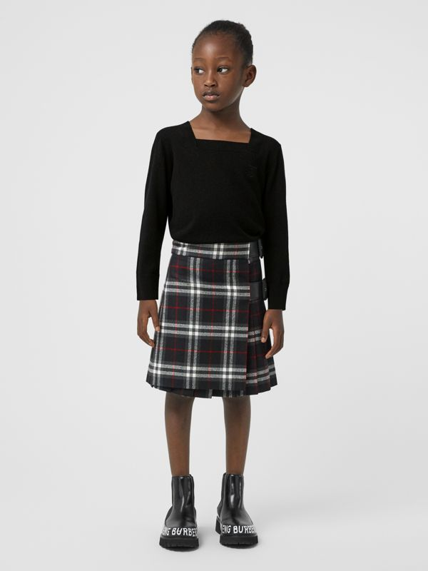 Kilt in lana con motivo Vintage check e dettagli in pelle di agnello (Nero) | Burberry - cell image 2