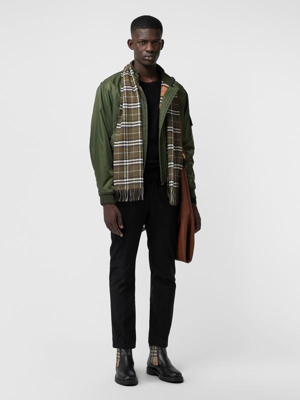 The Classic Vintage Check Cashmere Scarf in Military Brown | Burberry Australia - cell image 3