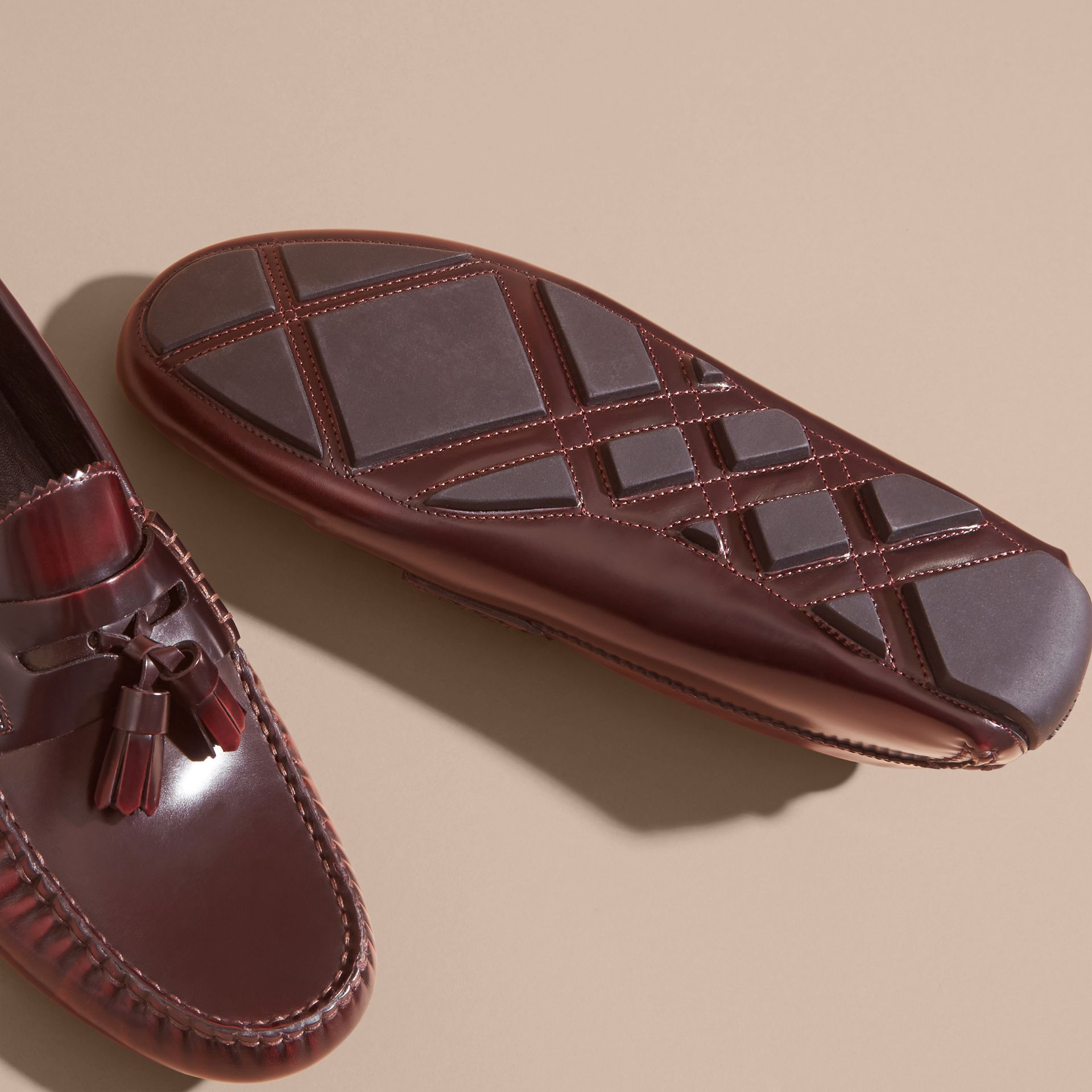 Tasselled Polished Leather Loafers Bordeaux - gallery image 5