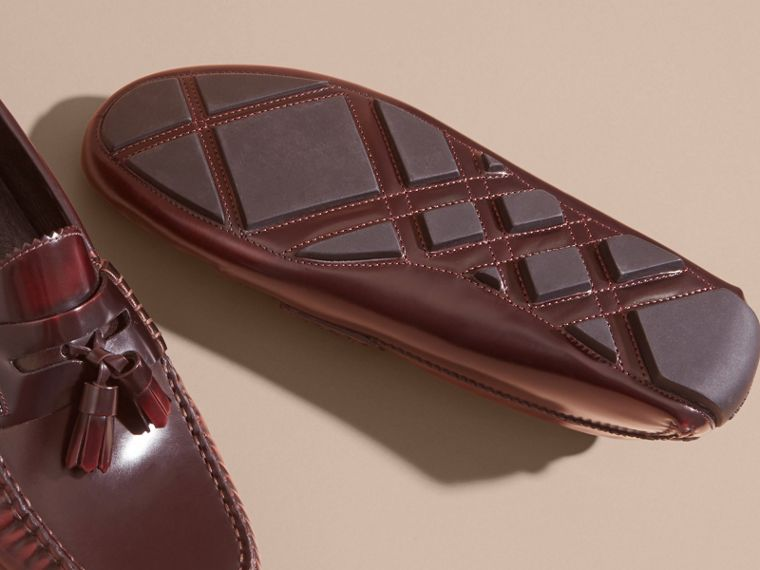 Tasselled Polished Leather Loafers in Bordeaux - Men | Burberry - cell image 4