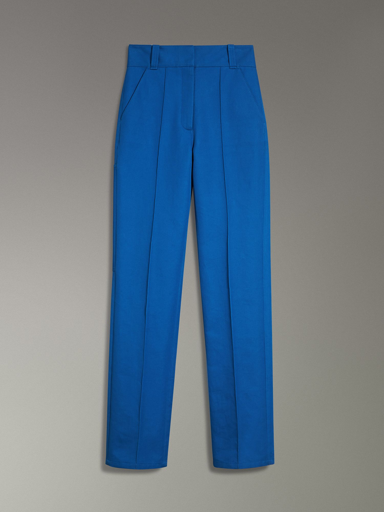 Cotton Drill High-waisted Trousers in Canvas Blue