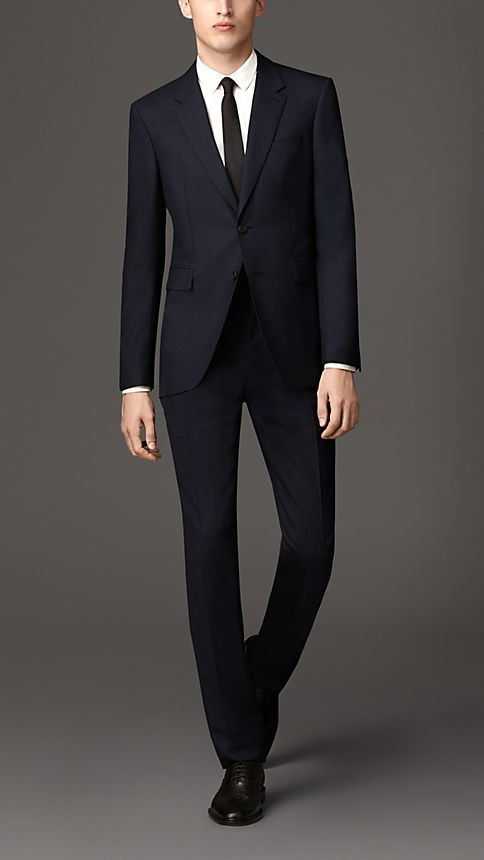 Navy Modern Fit Check Wool Part-canvas Suit - Image 1