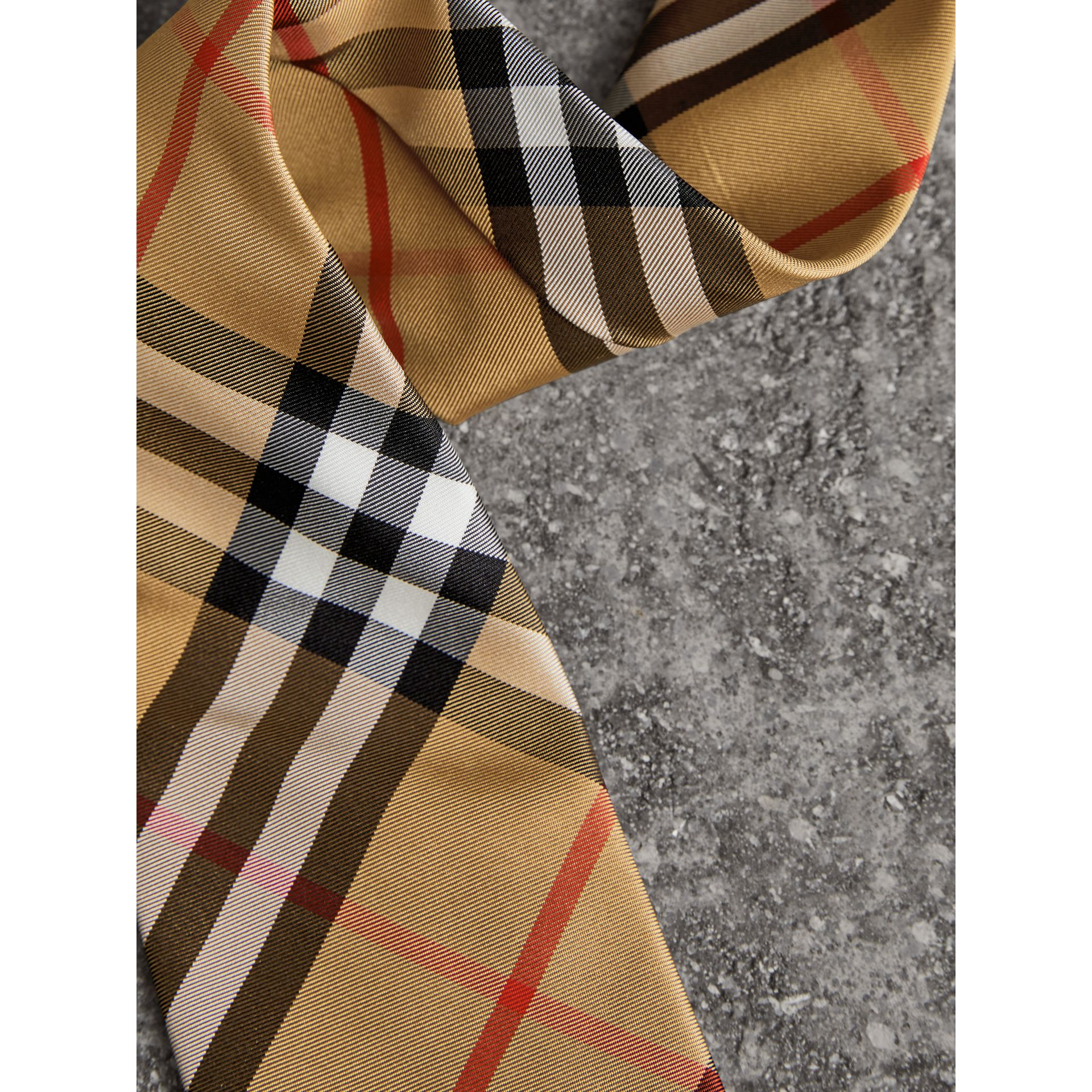 Modern Cut Vintage Check Silk Tie in Antique Yellow - Men | Burberry - gallery image 1