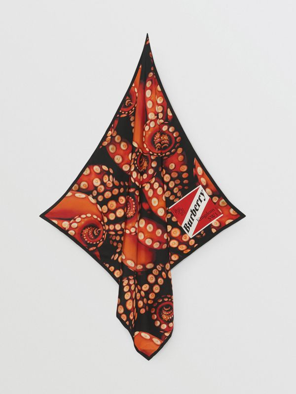 Octopus and Logo Graphic Print Silk Square Scarf in Coral Red | Burberry - cell image 3