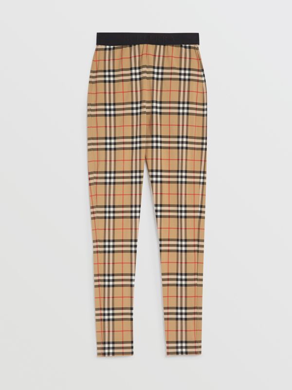 Vintage Check Leggings in Antique Yellow Chk - Women | Burberry United Kingdom - cell image 3