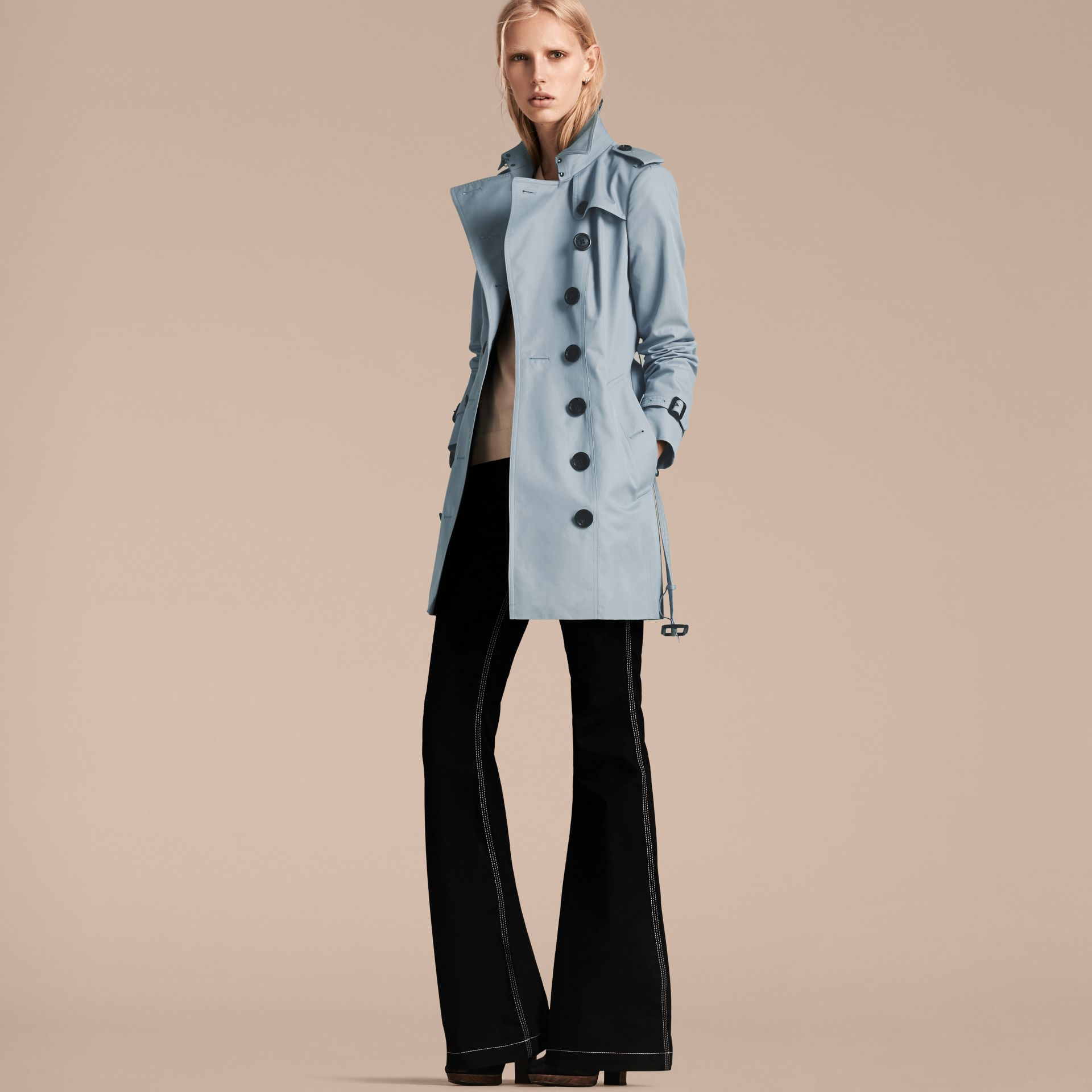 Pale sky blue Cotton Gabardine Trench Coat Pale Sky Blue - gallery image 7