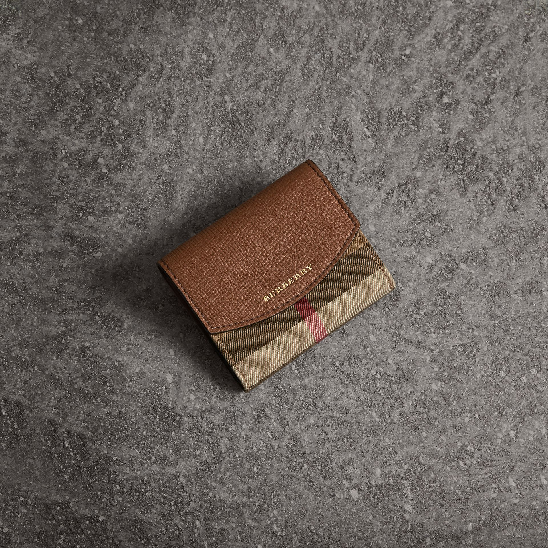 House Check and Leather Wallet in Tan - Women | Burberry - gallery image 0