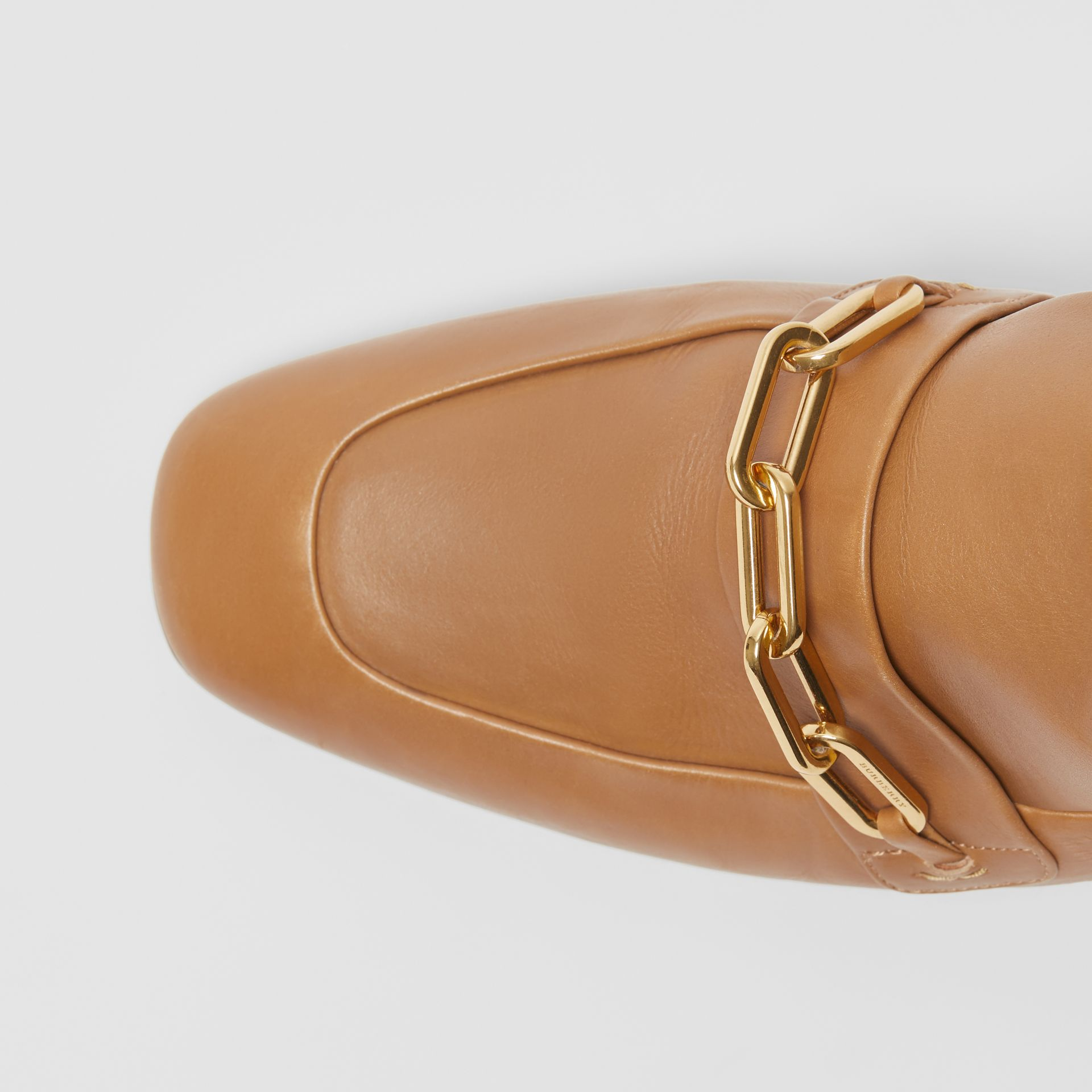 Link Detail Leather Block-heel Mules in Camel - Women | Burberry Canada - gallery image 1