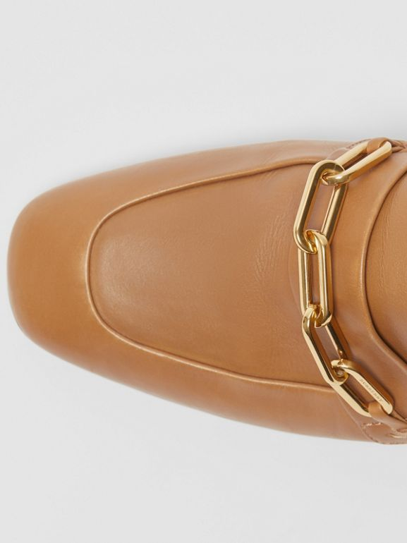 Link Detail Leather Block-heel Mules in Camel - Women | Burberry - cell image 1