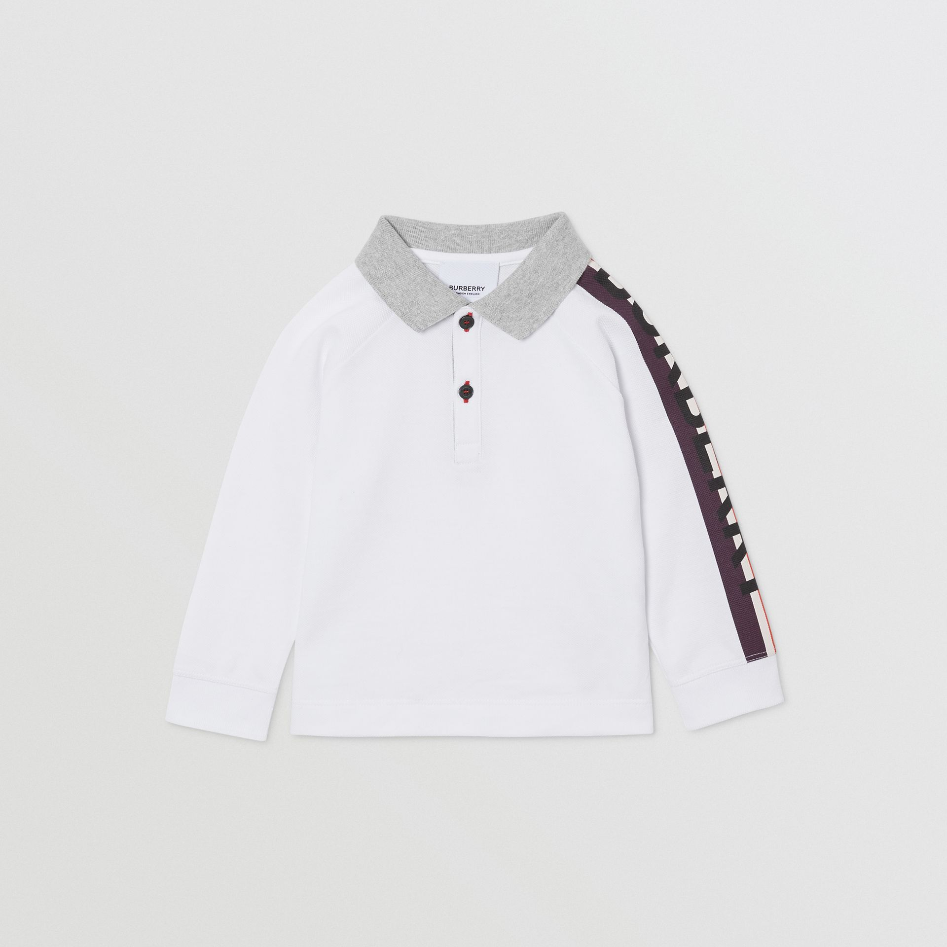 Long-sleeve Logo Print Cotton Polo Shirt in White - Children | Burberry - gallery image 0