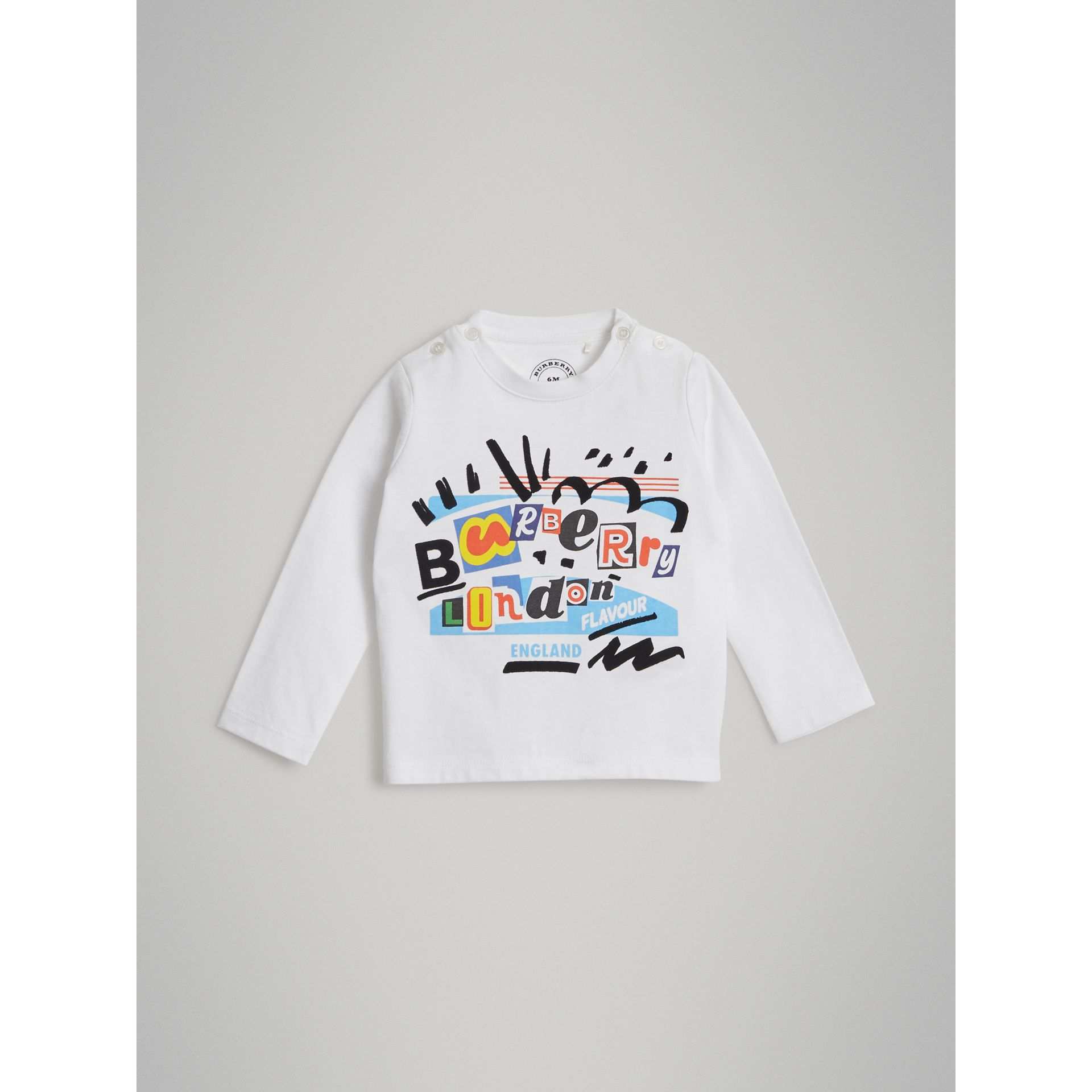 Long-sleeve Logo Print Cotton T-shirt in White - Children | Burberry United Kingdom - gallery image 0
