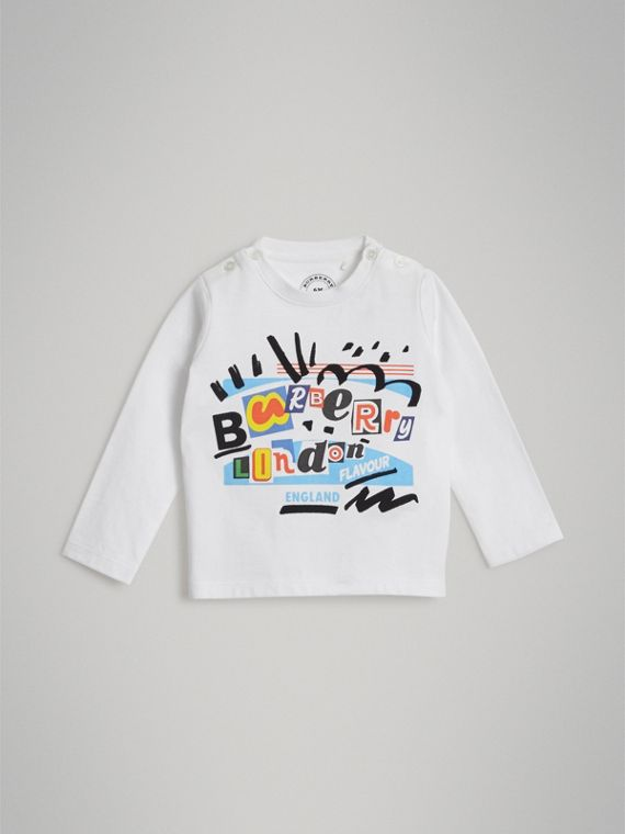 Long-sleeve Logo Print Cotton T-shirt in White