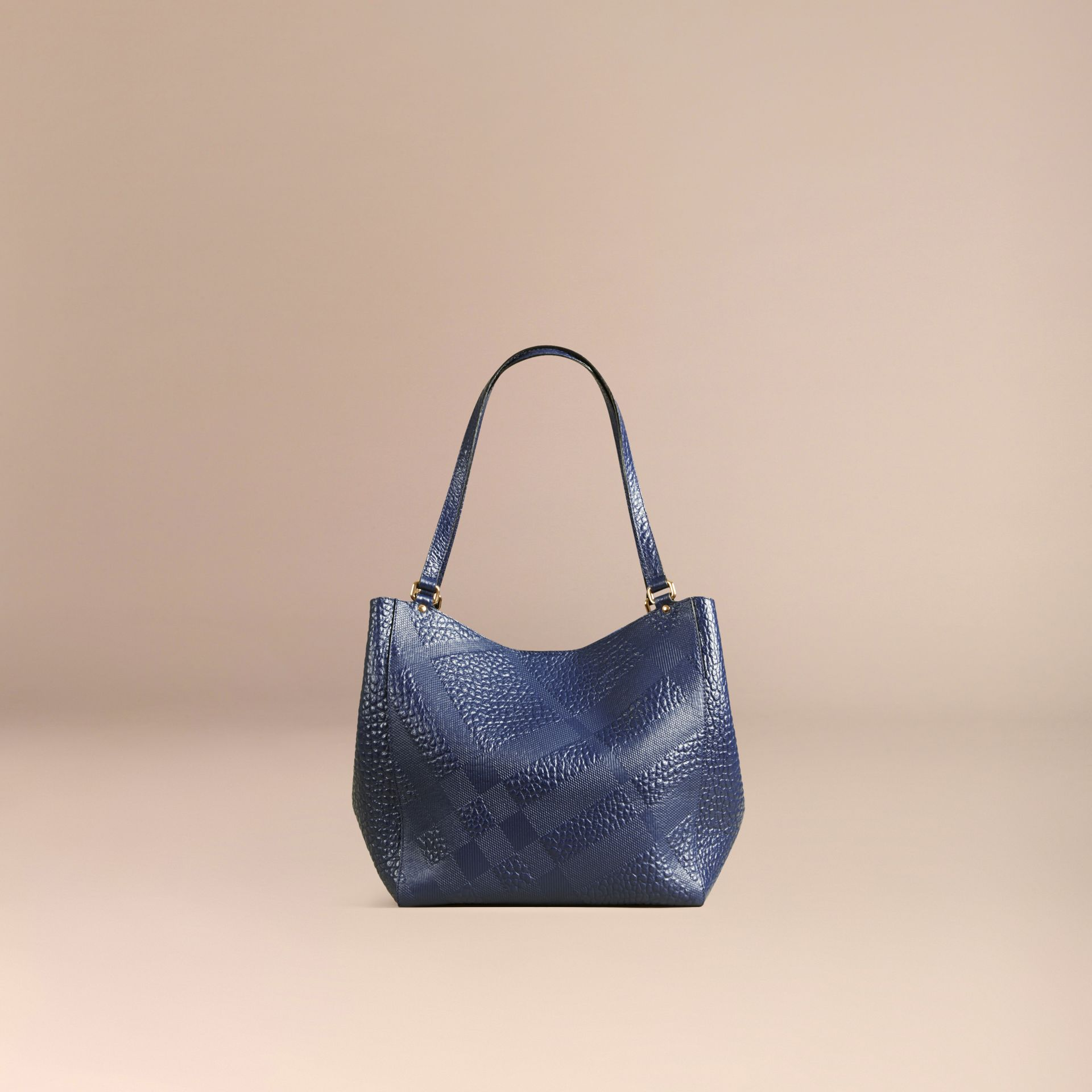 Blue carbon The Small Canter in Check Embossed Leather Blue Carbon - gallery image 4