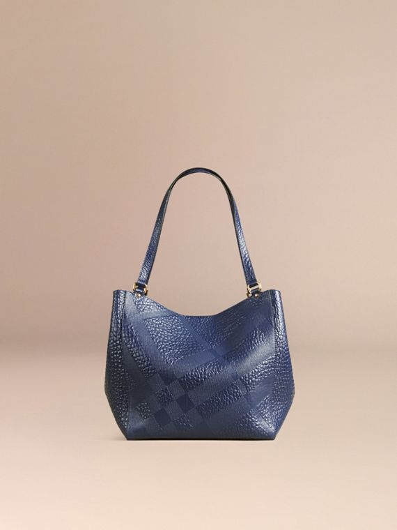 Blue carbon The Small Canter in Check Embossed Leather Blue Carbon - cell image 3