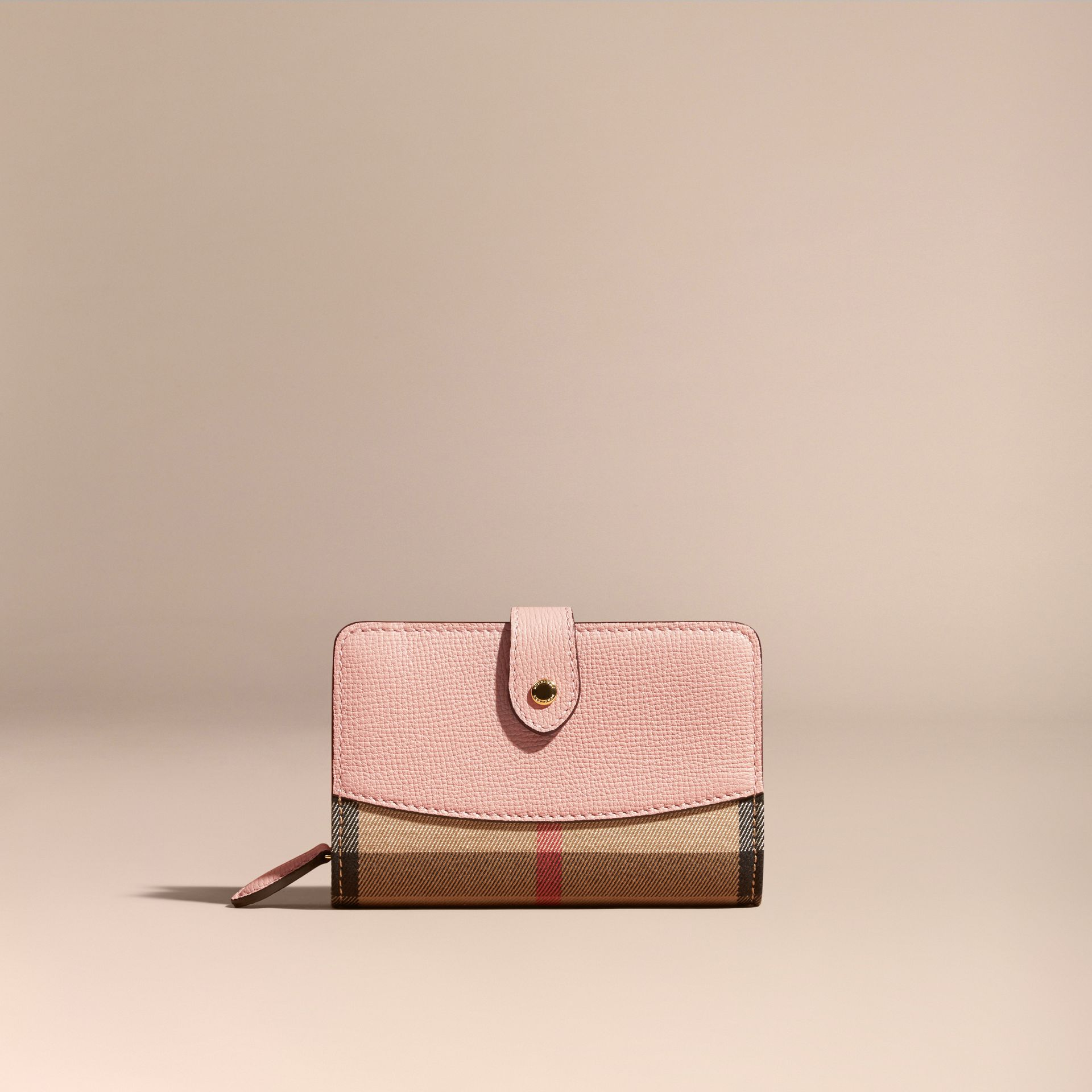 House Check and Leather Wallet in Pale Orchid - gallery image 2