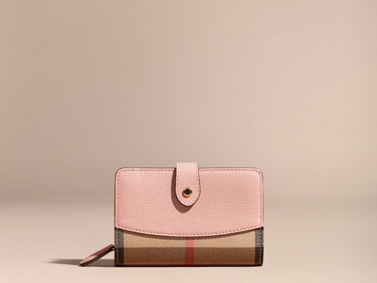 House Check and Leather Wallet in Pale Orchid - cell image 1