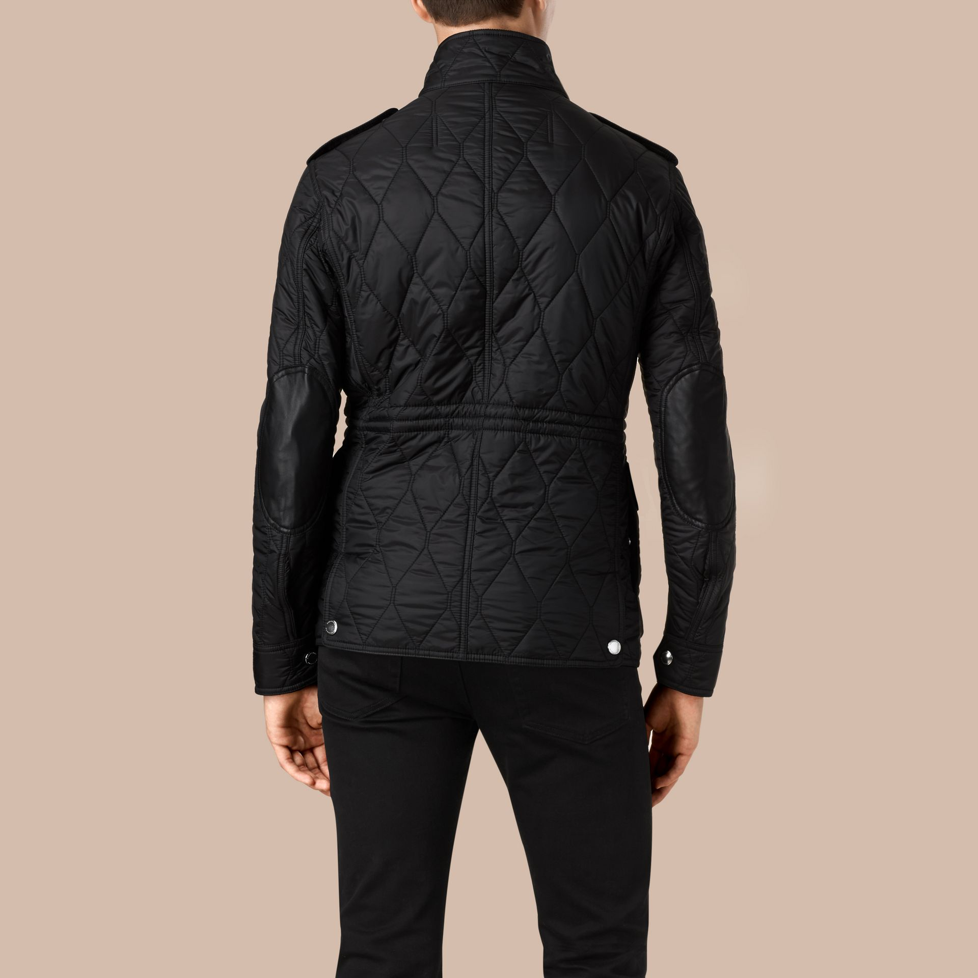 Diamond Quilted Field Jacket in Black - gallery image 4