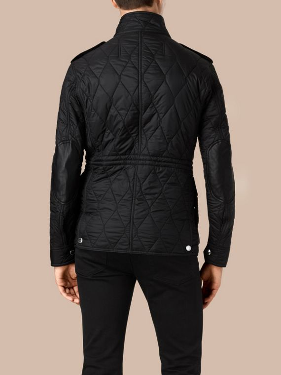 Diamond Quilted Field Jacket in Black - cell image 3