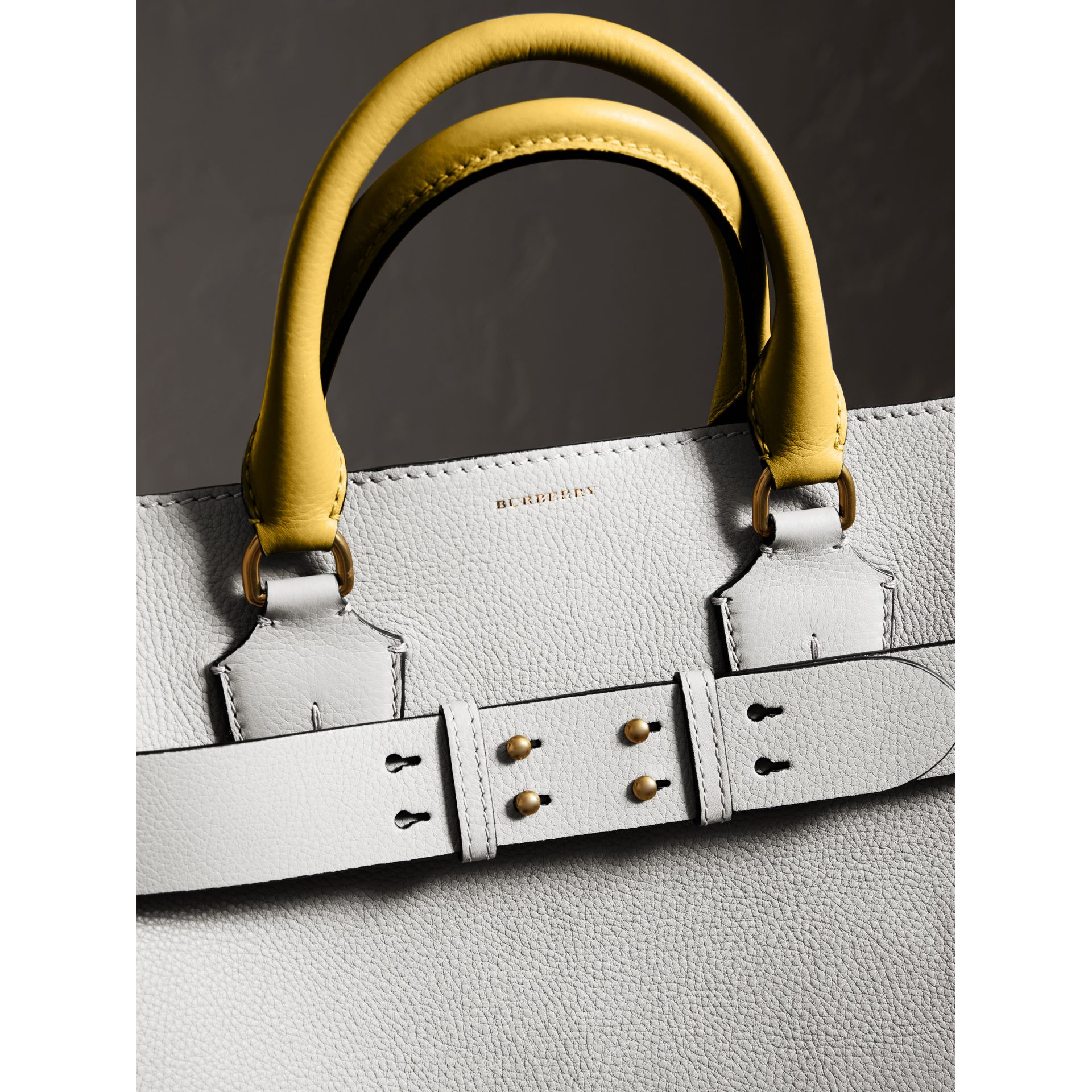 The Large Leather Belt Bag in Chalk White | Burberry Australia - gallery image 1