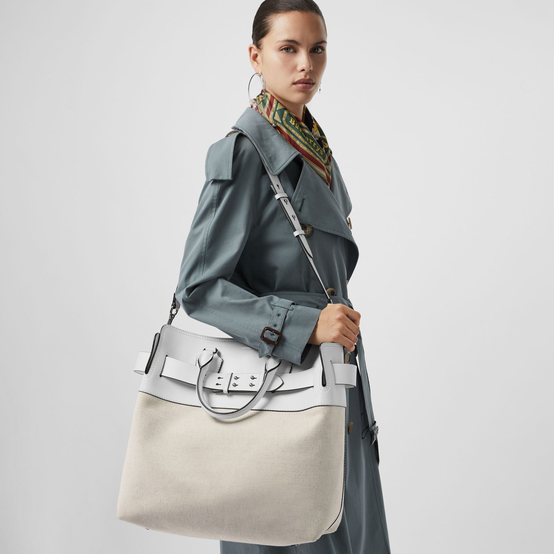 The Large Leather and Canvas Belt Bag in Chalk White   Burberry United States - gallery image 7