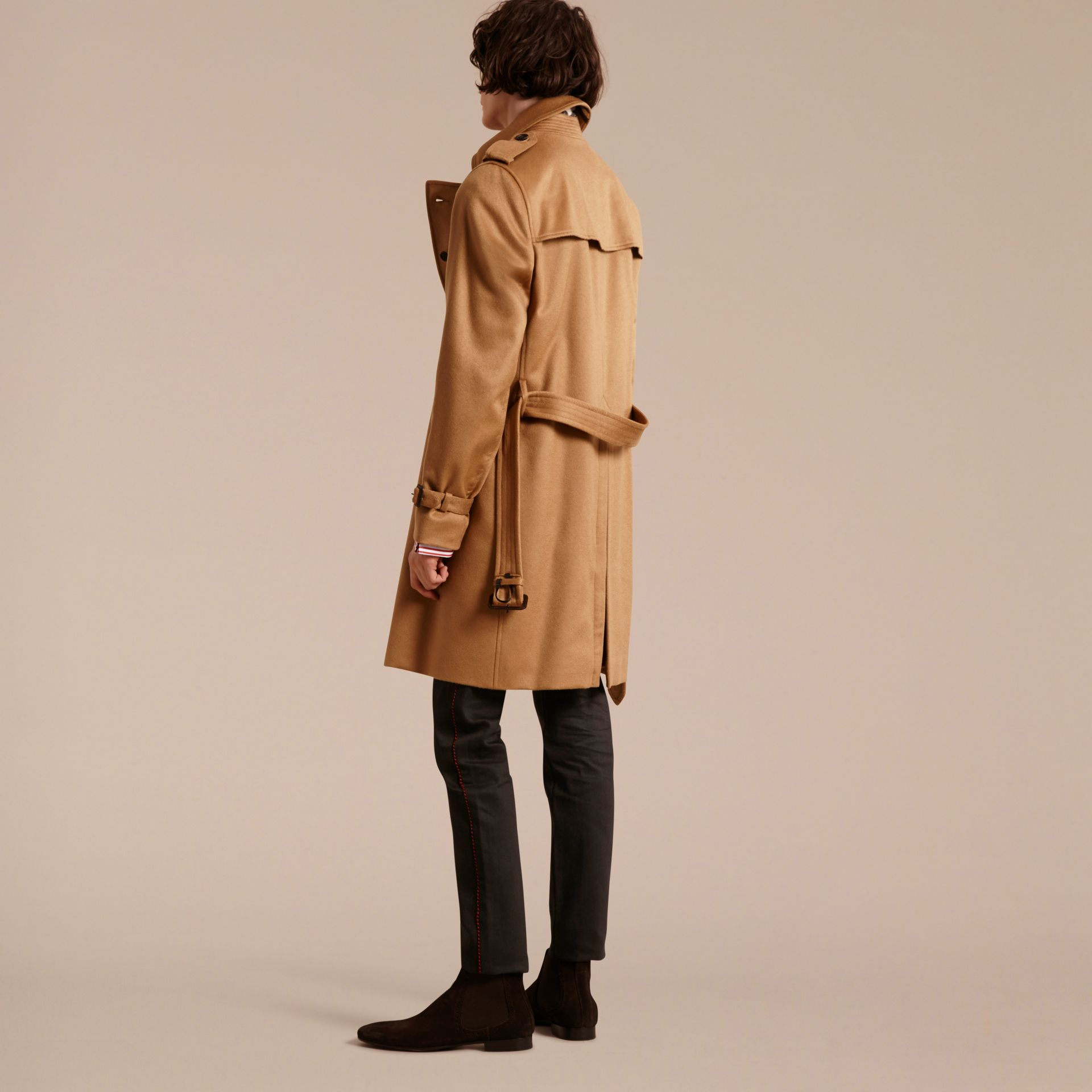 Cashmere Trench Coat in Dark Camel - Men | Burberry - gallery image 3