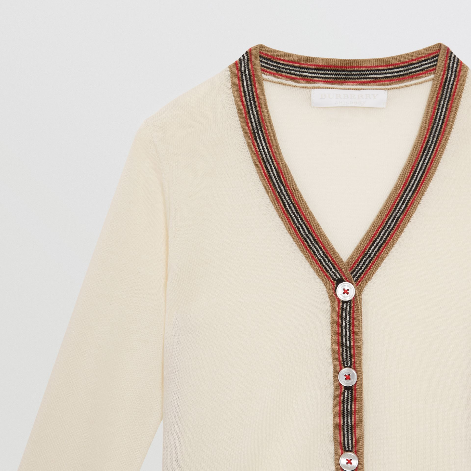 Icon Stripe Detail Merino Wool Cardigan in Ivory - Children | Burberry United Kingdom - gallery image 4