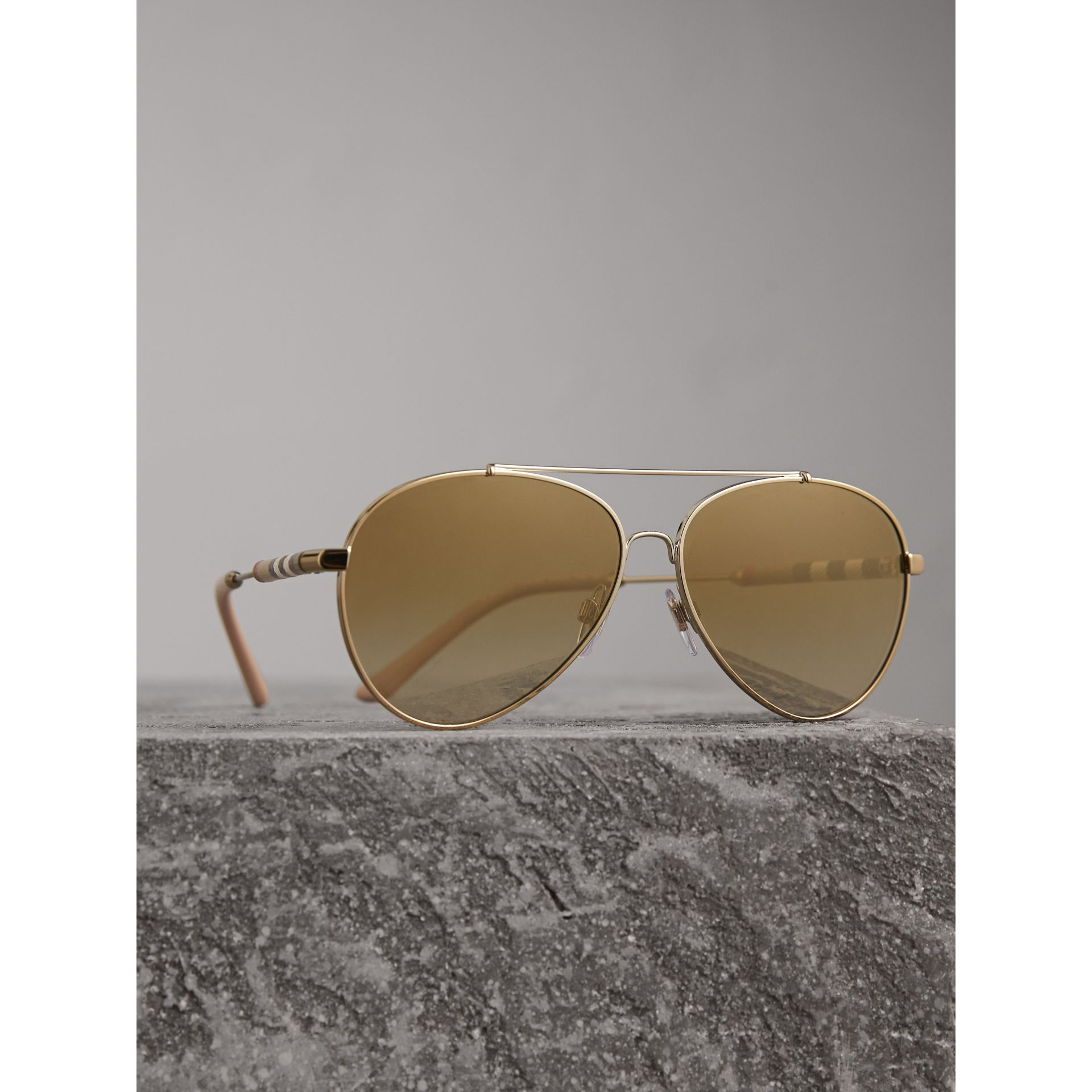 Check Detail Mirrored Pilot Sunglasses in Nude - Women | Burberry - gallery image 3