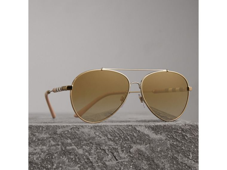 Check Detail Mirrored Pilot Sunglasses in Nude - Women | Burberry - cell image 2