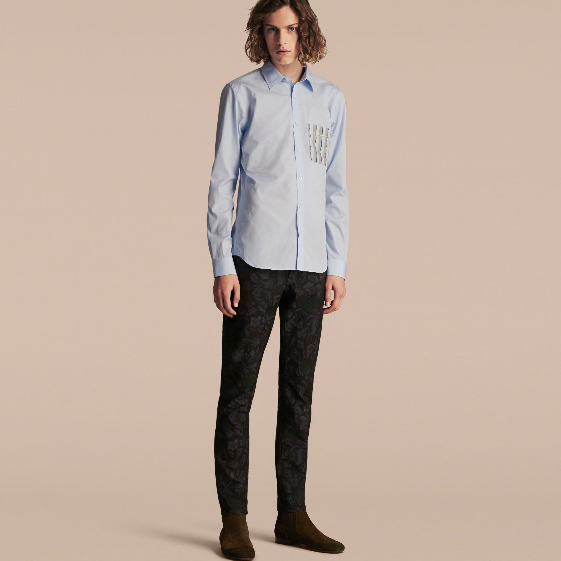 Pale sky blue Cotton Poplin Shirt with Pyjama Stripe Pocket - gallery image 1