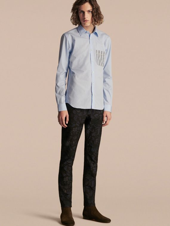 Cotton Poplin Shirt with Pyjama Stripe Pocket