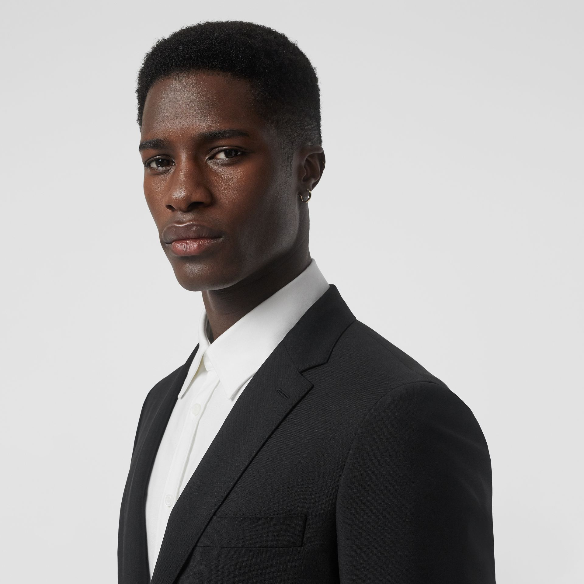 Slim Fit Wool Mohair Tailored Jacket in Black - Men | Burberry United Kingdom - gallery image 1