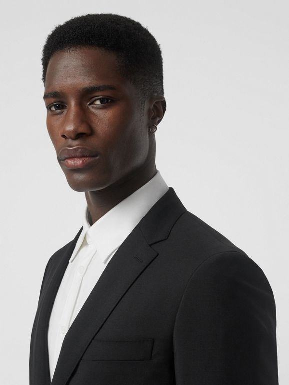 Slim Fit Wool Mohair Tailored Jacket in Black - Men | Burberry United Kingdom - cell image 1