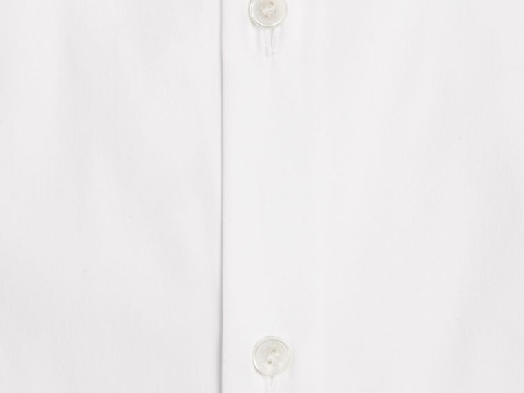 White Modern Fit Short-sleeved Stretch Cotton Shirt - cell image 1