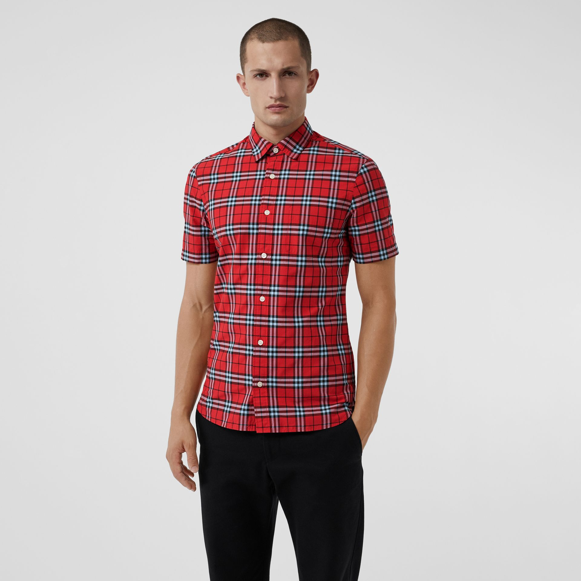 Short-sleeve Check Cotton Shirt in Bright Red | Burberry - gallery image 4