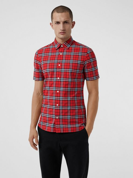 Short-sleeve Check Cotton Shirt in Bright Red