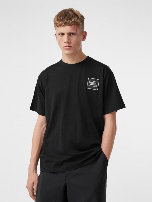 Logo Appliqué Cotton T-shirt in Black