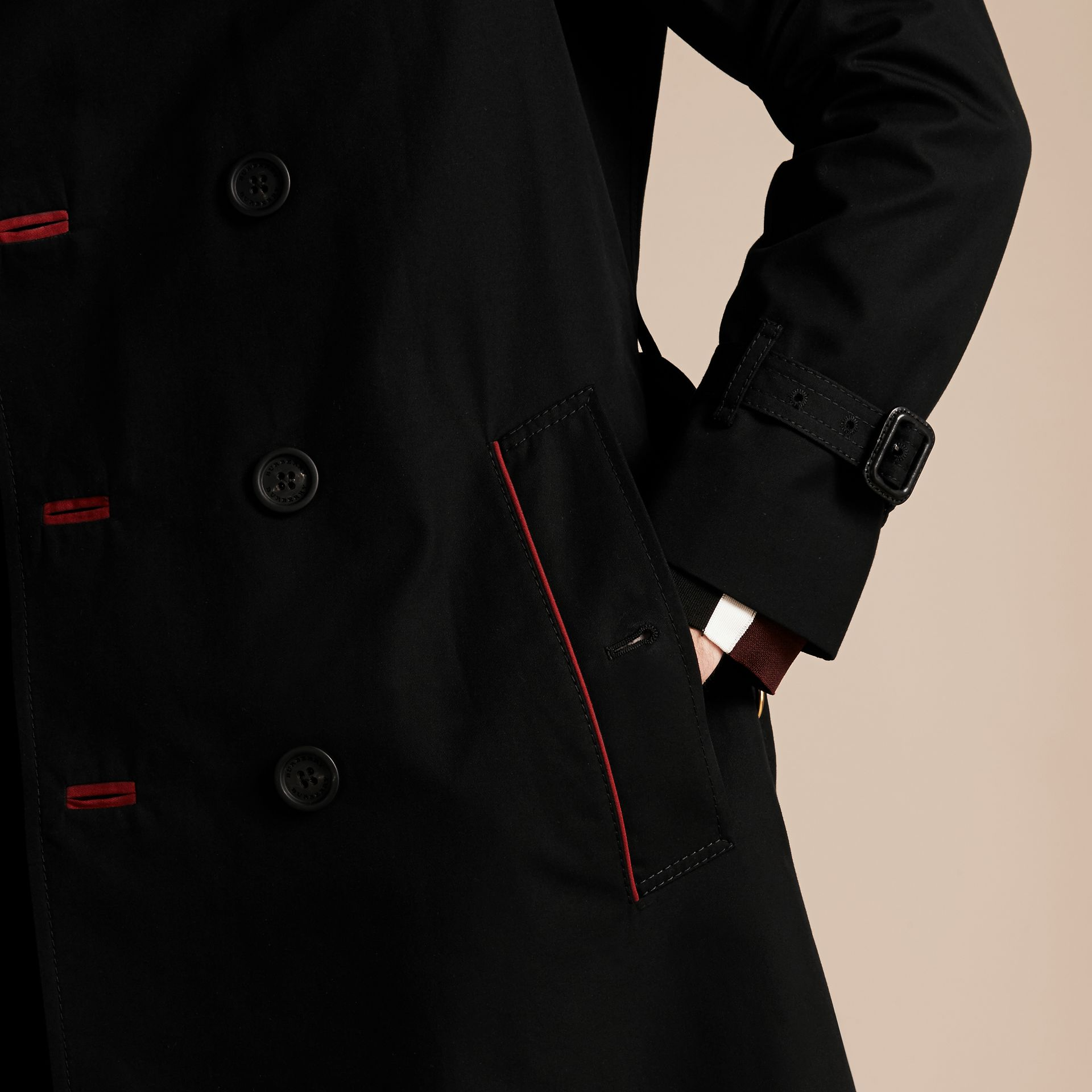 Black Military Detail Cotton Trench Coat - gallery image 6
