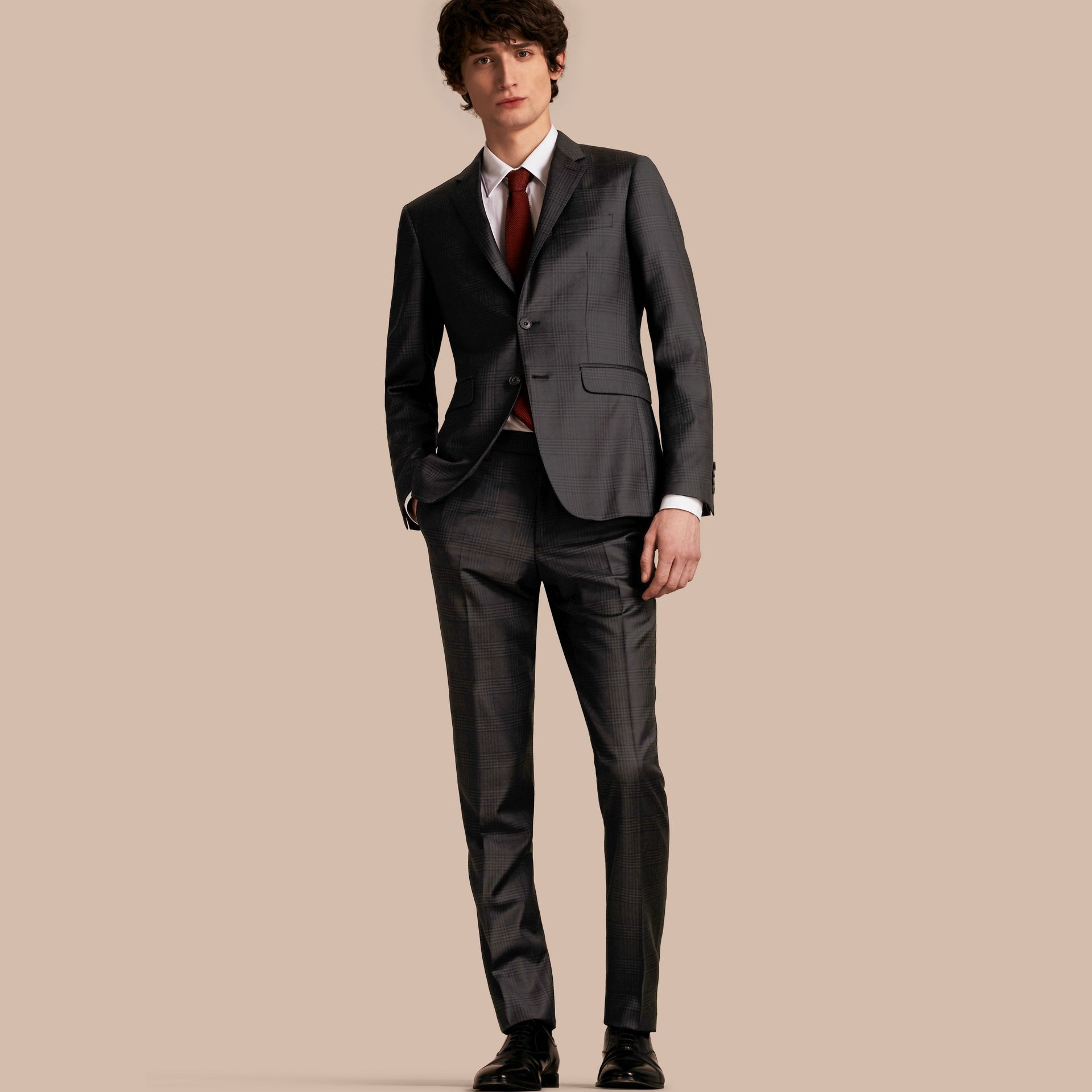 Slim Fit Travel Tailoring Prince of Wales Check Wool Suit - gallery image 1