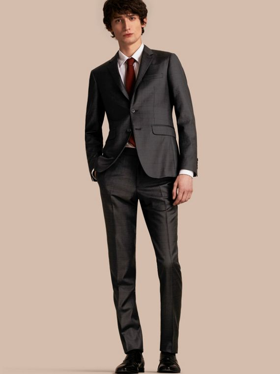 Slim Fit Travel Tailoring Prince of Wales Check Wool Suit