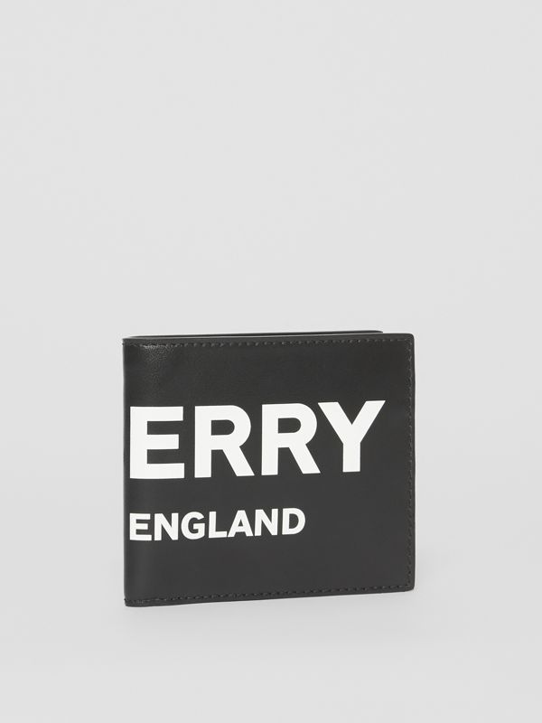 Logo Print Leather International Bifold Wallet in Black | Burberry United States - cell image 3